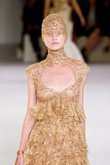 Alexander Mcqueen Spring 2012 Cut Out High Neck MilleFeuille Gown in Gold - Lyst