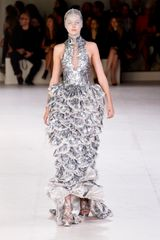 Alexander McQueen Spring 2012 Silver High Neck Gown With Mille-Feuille Skirt - Lyst