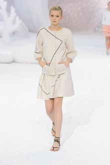 Chanel Spring 2012 Beige Checked 3/4 Sleeve Jacket With Black Graphic Detail - Lyst