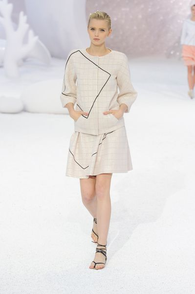 Chanel Spring 2012 Beige Checked 3/4 Sleeve Jacket With Black Graphic Detail in Beige - Lyst