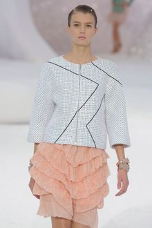 Chanel Spring 2012  3/4 Sleeve Zipped Jacket With Black Graphic Detail - Lyst
