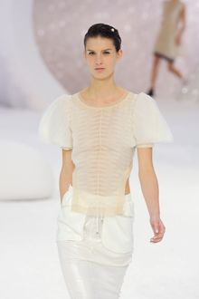 Chanel Spring 2012 Sheer Puff-Sleeve Plisse Blouse  - Lyst
