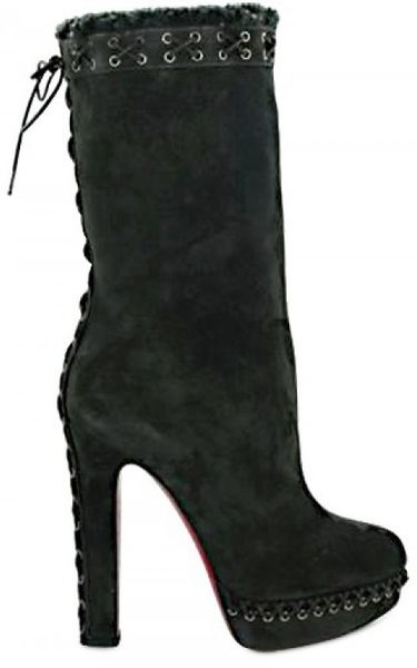 Christian Louboutin 140 Mm Step N Roll Suede Boots in Gray (grey) - Lyst