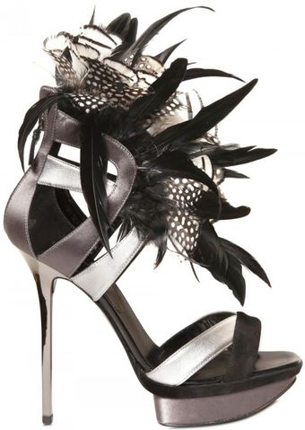 Diego Dolcini 130mm Silk, Feather & Calfskin Sandals - Lyst
