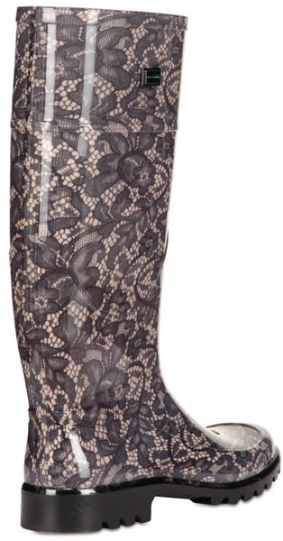 Dolce Amp Gabbana Lace Print Rubber Boot In Black Nude Lyst