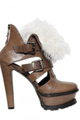 Etro Shearling-trimmed Cutout Leather Pumps - Lyst