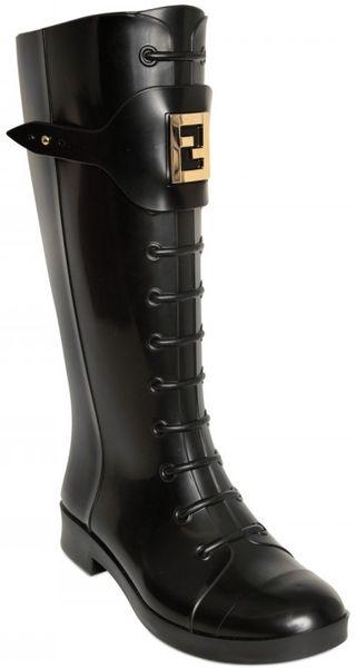 Fendi 30mm Logo Rain Boots In Black Lyst