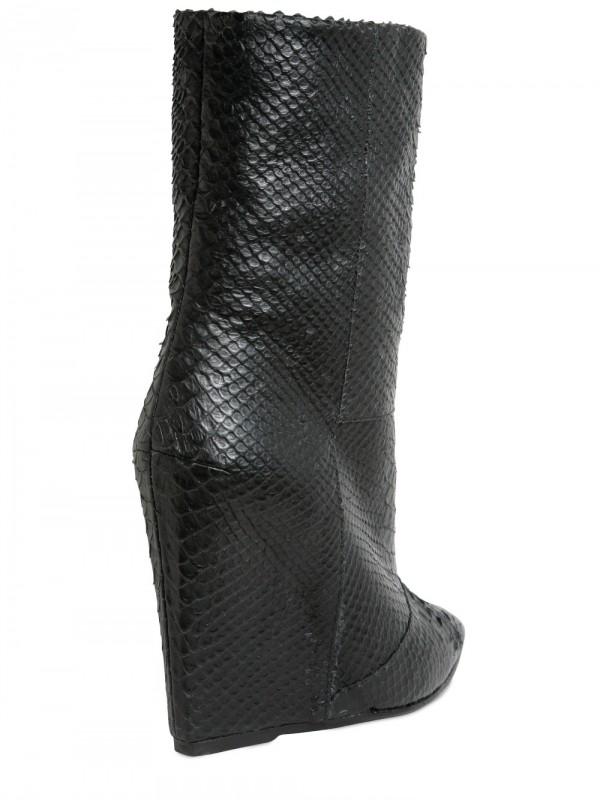 Lyst - Giuseppe Zanotti 120mm Python Print Low Boot Wedges in Black ddd17b593c11