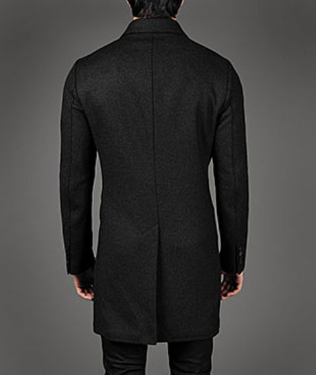 John Varvatos Double Breasted Three Quarter Length Coat In Gray For Men Concrete Heather Lyst
