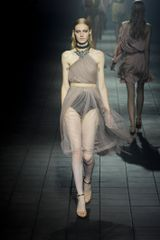 Lanvin Spring 2012 Pink Sheer Asymmetric Knee Lenght Dress