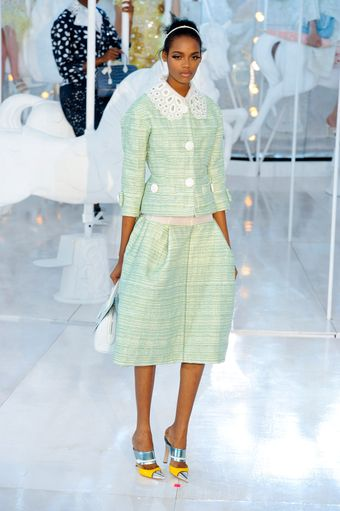 Louis Vuitton Spring 2012 Mint Green Fitted 3/4 Sleeve Jacket With Oversized White Buttons - Lyst