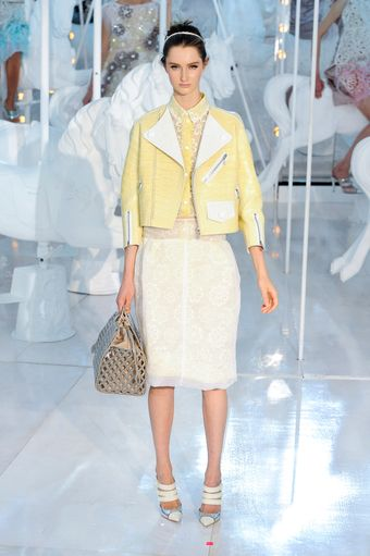 Louis Vuitton Spring 2012 Yellow Shirt with Broderie Anglaise Details - Lyst