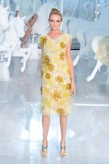 Louis Vuitton Spring 2012 Sheer Yellow V Neck Floral Embellished Midi Dress - Lyst
