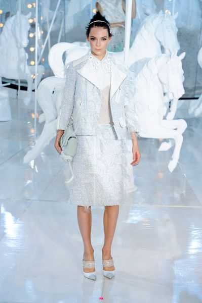 Louis Vuitton Spring 2012 Icy Ombré Feather Trimmed Pencil Skirt  in White - Lyst