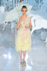 Louis Vuitton Spring 2012 Sheer Yellow Ombre Feather Trim Midi Dress With Floral Broaderie Anglaise Detail in Yellow - Lyst