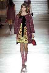 Miu Miu Spring 2012 High Waist Patterned A Line Skirt in Yellow - Lyst