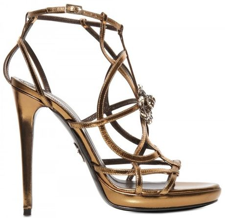Roberto Cavalli 130mm Swarovski and Metal Calfskin Sanda in Gold