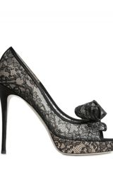 Valentino 120mm Lace Bow Open Toe Pumps - Lyst