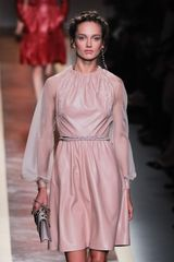Valentino Spring 2012 Leather Dress With Sheer Sleeves And Skinny Belt in Pink - Lyst