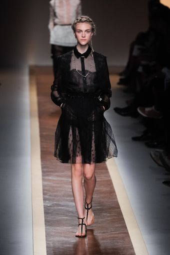 Valentino Spring 2012 Sheer Black Lace Shirt Dress - Lyst