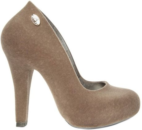 Vivienne Westwood 100mm Rubber Suede Melissa Pumps in Gray (grey)