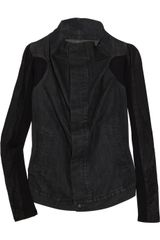 DRKSHDW by Rick Owens Leather and Denim Jacket - Lyst