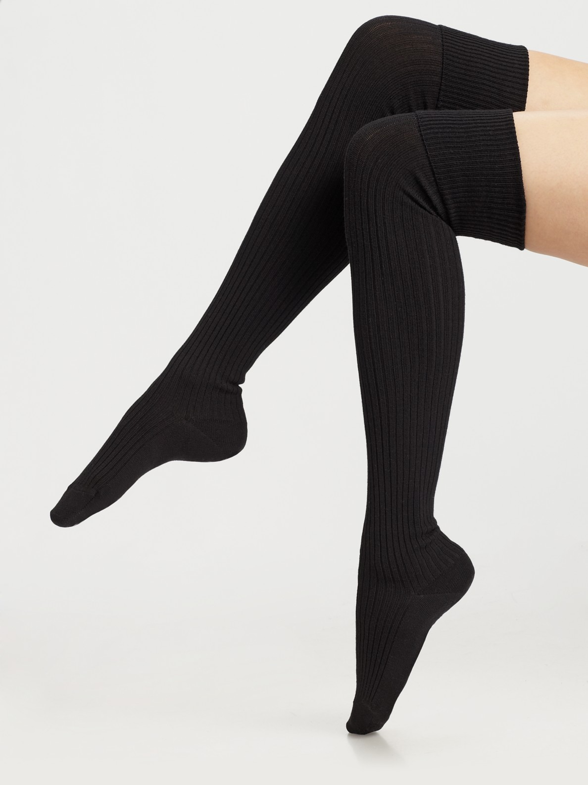 lyst falke ribbed over the knee socks in black. Black Bedroom Furniture Sets. Home Design Ideas
