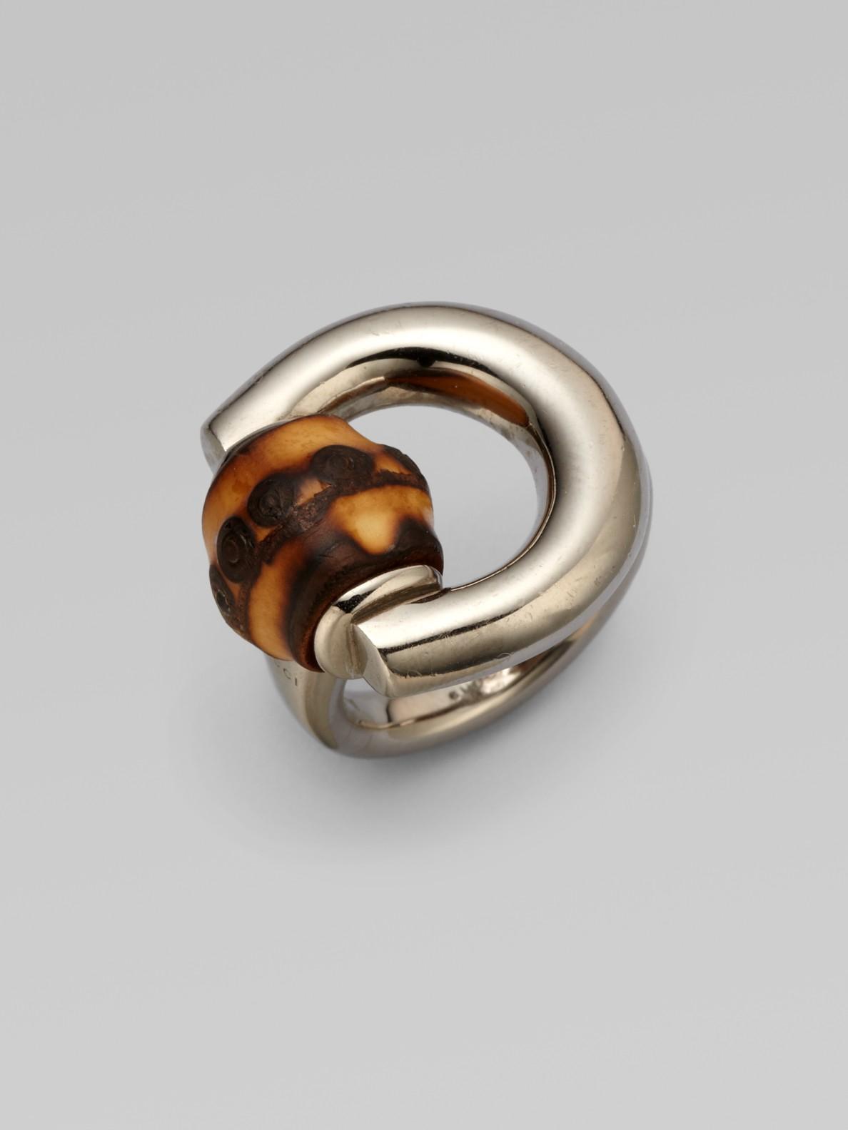 87f2b6286 Gucci Bamboo Horsebit Sterling Silver Ring in Metallic - Lyst