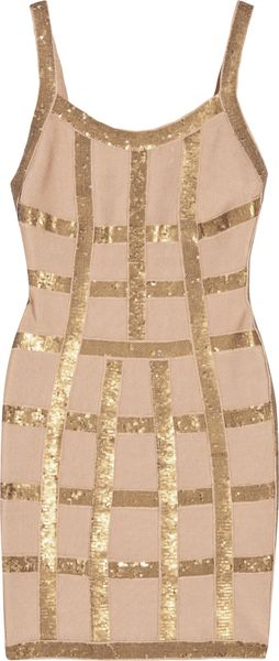 Hervé Léger Sequined Bandage Dress - Lyst