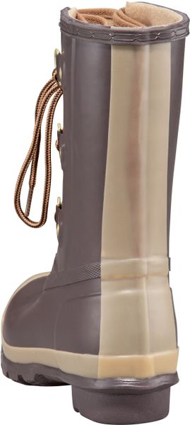 Hunter Lace Up Short Rain Boot In Brown Eggplant Lyst