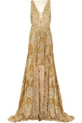Julien Macdonald Jacobite Lace and Printed Silk-chiffon Gown - Lyst