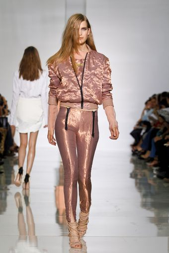 Kanye West Spring 2012 Pink Shimmering Leggins With Black Zip Details - Lyst