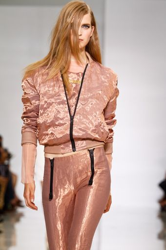 Kanye West Spring 2012 Pink Shimmering Short Baseball Jacket with Black Zip - Lyst