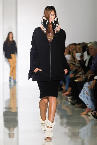 Kanye West Spring 2012 Printed High Neck & Hooded Knee Length Jacket Dress In Black - Lyst