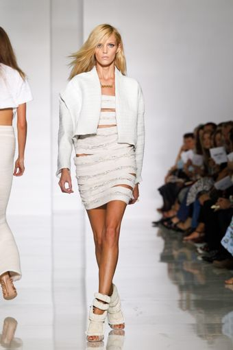Kanye West Spring 2012 White Striped & Cut Out Mini Dress  - Lyst