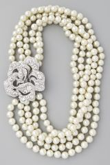 Kenneth Jay Lane 5 Row Pearl and Crystal Necklace - Lyst
