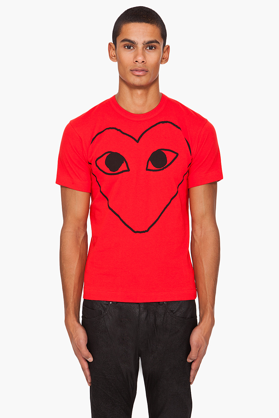 Play Comme Des Gar Ons Print Jersey T Shirt In Red For Men