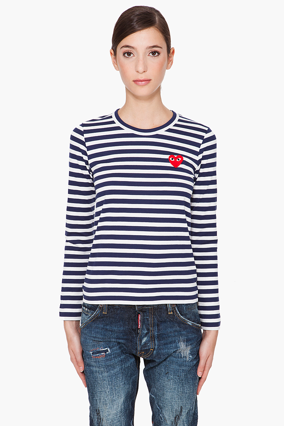 Play comme des gar ons long sleeve stripe emblem shirt in for Blue and white striped long sleeve t shirt
