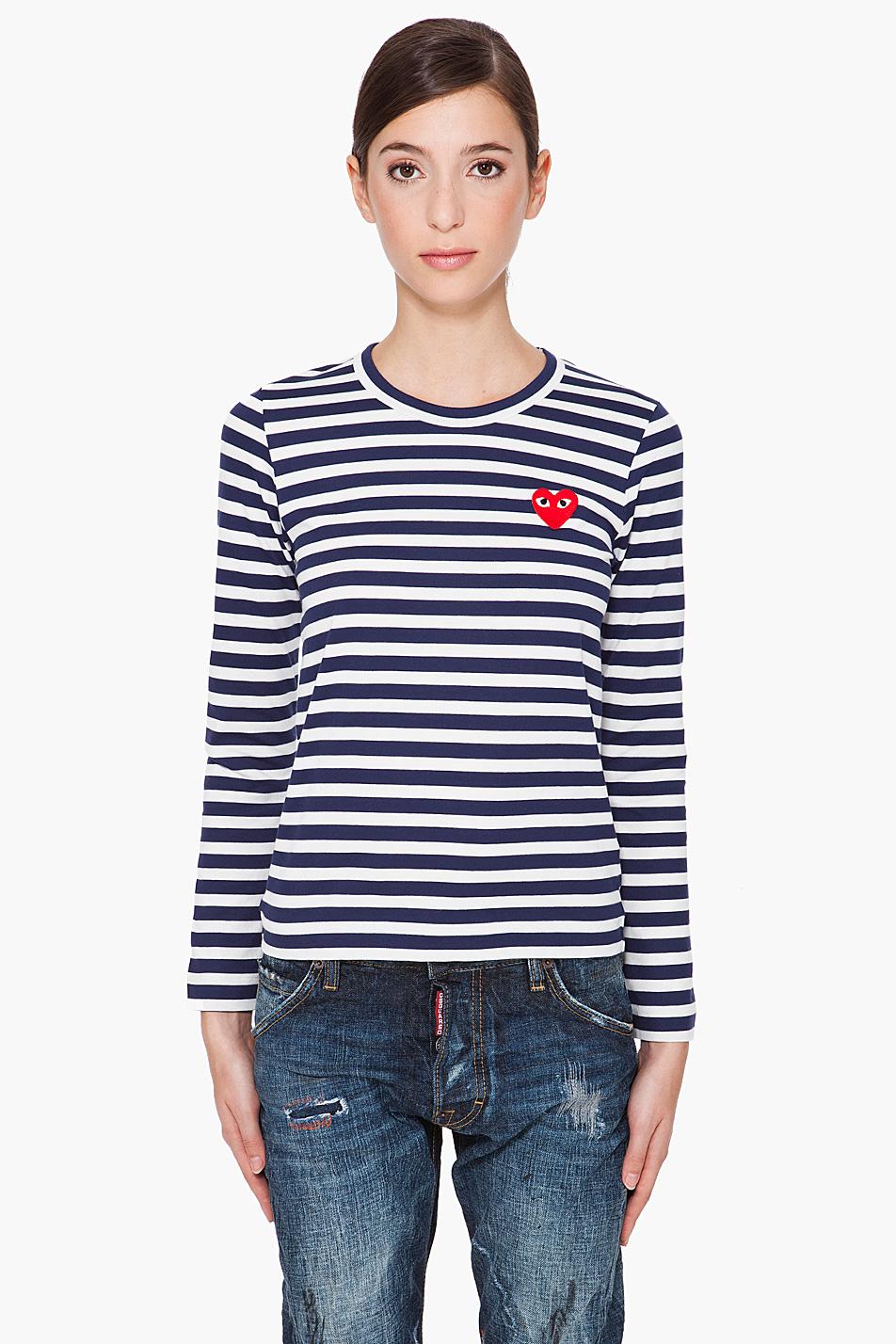 play comme des gar ons long sleeve stripe emblem shirt in. Black Bedroom Furniture Sets. Home Design Ideas
