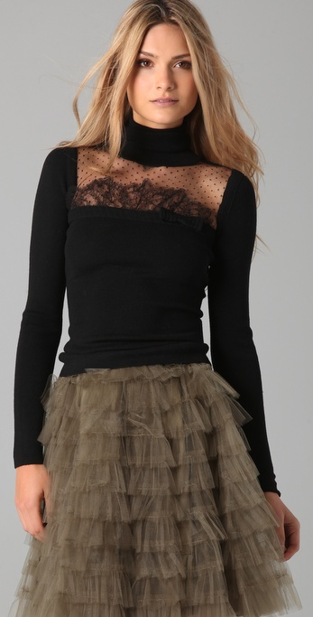 Red valentino turtleneck lace dress