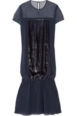 Richard Nicoll Silk-blend Chiffon and Velvet Dress - Lyst