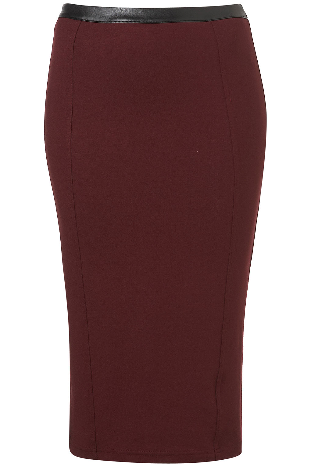 topshop ponte faux leather trim pencil skirt in purple