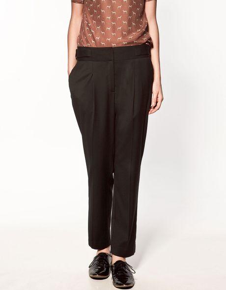 Zara Trousers With Side Tabs In Black Lyst