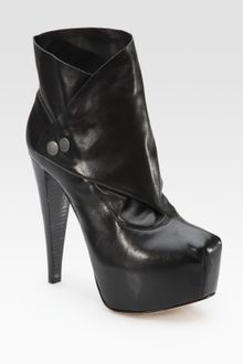 Alice + Olivia Priss Lamb Leather Fold-over Ankle Boots - Lyst
