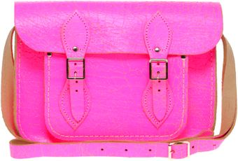 Cambridge Satchel Company Exclusive To Asos 11 Pink Fluro Cracked Leather Satchel - Lyst