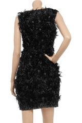 Donna Karan New York Feather and Sequinembellished Silk Dress in Black - Lyst