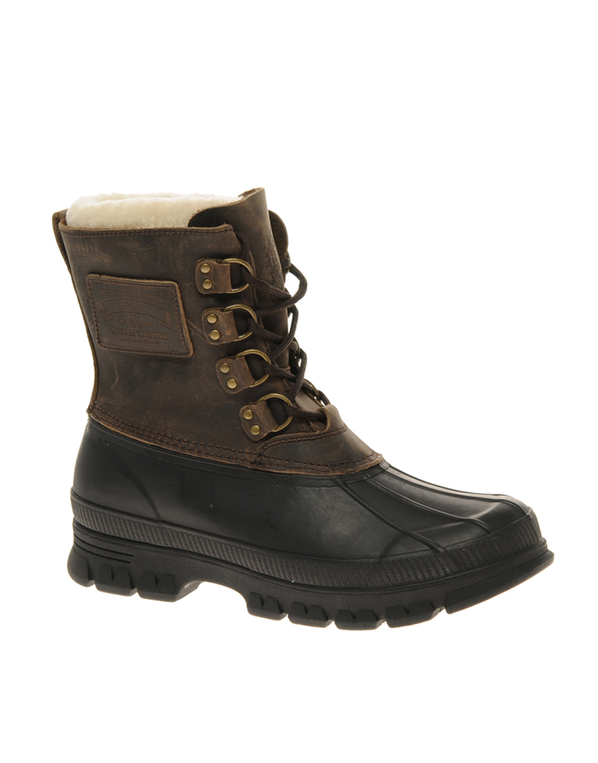 polo ralph landen shearling lined boots in brown
