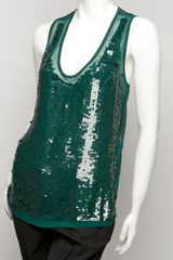 Stella Mccartney Sequin Tank in Green - Lyst