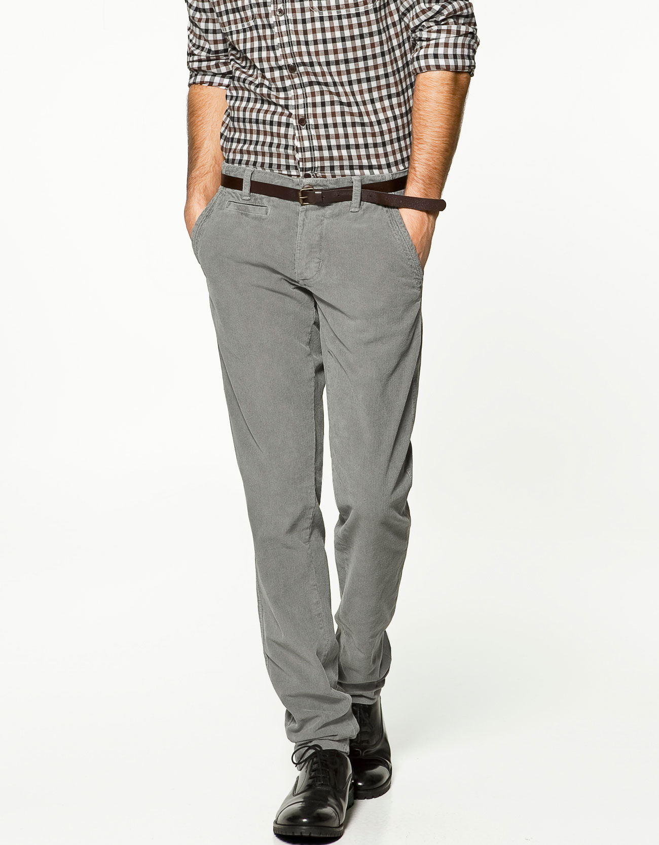 Zara Corduroy Trousers in Gray for Men | Lyst