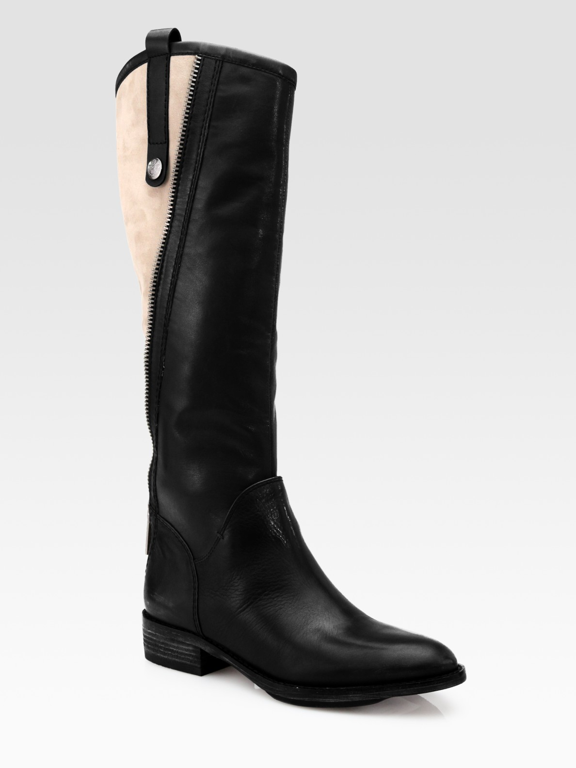 sam edelman patrice leather and suede knee high boots in
